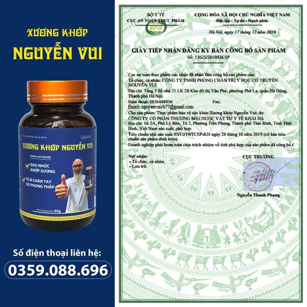 Xương Khớp Nguyễn Vui được cấp phép bởi Cục an toàn thực phẩm – Bộ Y tế