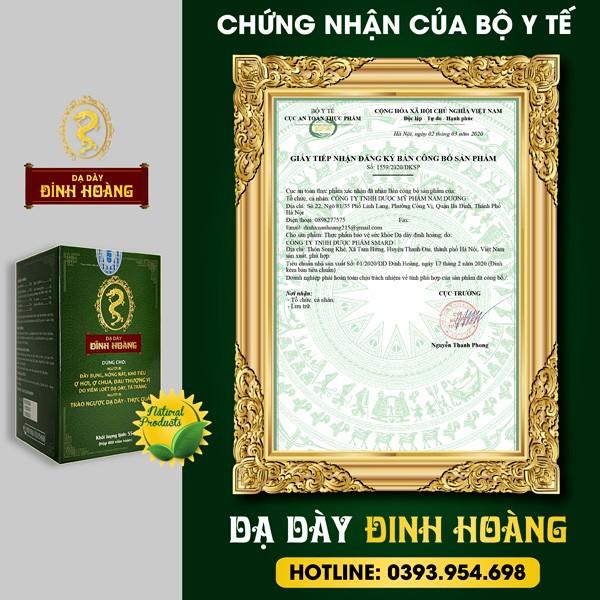 Chứng nhận bởi Cục an toàn vệ sinh thực phẩm (Bộ Y tế) cho dạ dày Đinh Hoàng