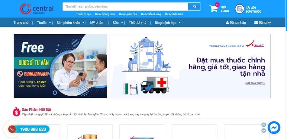 Giao diện trang chủ website của nhà thuốc