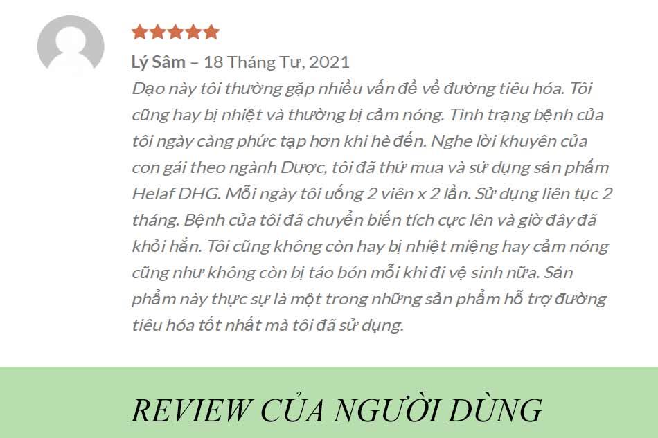 Review Helaf DHG từ người dùng