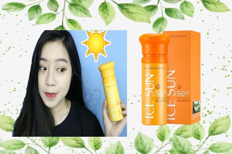Review Nature Republic Ice Puff Sun Provence Calendula SPF 50 PA+++ màu vàng cam