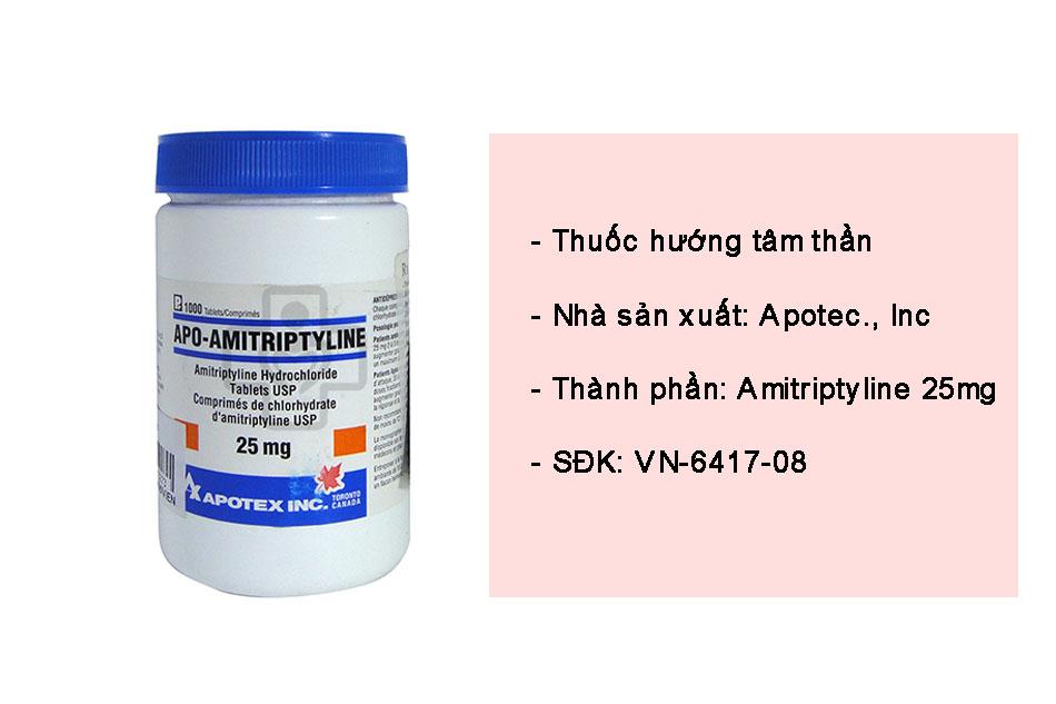Apo - Amitriptyline 25mg là thuốc điều trị trầm cảm hiệu quả
