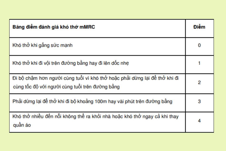 Bảng điểm mMRC