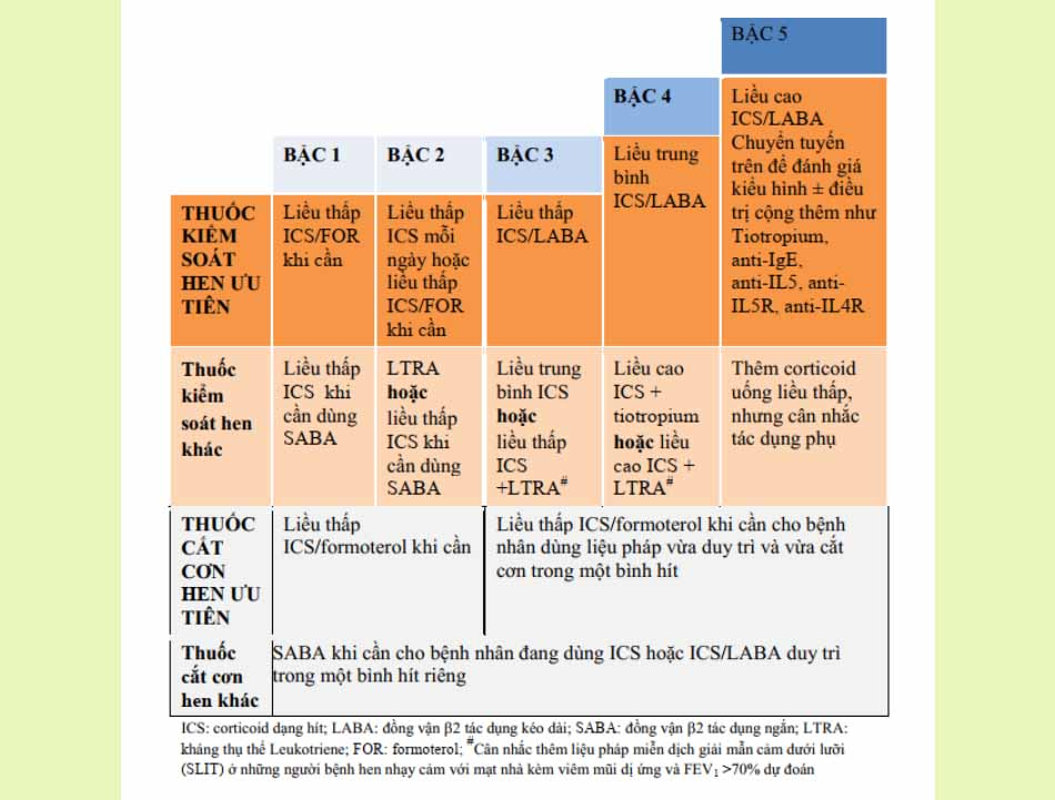 Điều trị kiểm soát hoặc cắt cơn dựa trên bậc hen